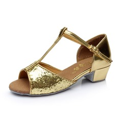 Kids' Sparkling Glitter Heels Sandals Latin With T-Strap Dance Shoes