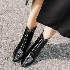Naisten Kiiltonahka Chunky heel Avokkaat Nilkkurit jossa Niitti Vetoketju kengät