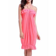 Hermoso Color sólido Vestido de la playa