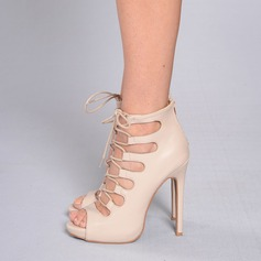 Women's Leatherette Stiletto Heel Pumps Peep Toe With Lace-up shoes