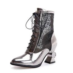 Mulheres Couro Salto robusto Bota no tornozelo sapatos