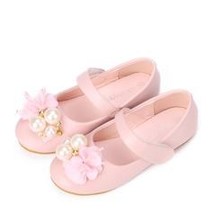 Mädchens Geschlossene Zehe Leder Flache Ferse Flache Schuhe Blumenmädchen Schuhe mit Nachahmungen von Perlen Klettverschluss Blume