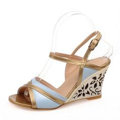 Kvinnor PU Kilklack Sandaler Pumps Kilar Peep Toe Slingbacks skor