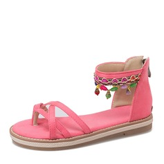 Donna Camoscio Senza tacco Sandalo Ballerine con Perline scarpe