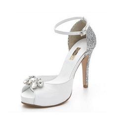 Femmes Vrai cuir Talon stiletto À bout ouvert Plateforme Sandales Beach Wedding Shoes avec Strass Pailletes scintillantes (047126560)
