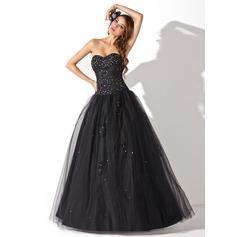 Balo Elbisesi Kalp Kesimli Uzun Etekli Tulle Quinceanera (15 Yaş) Elbisesi Ile Boncuklama Pullarda