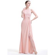 Vestidos princesa/ Formato A Decote redondo Longos Tecido de seda Vestido de festa com Beading Apliques de Renda lantejoulas Frente aberta Babados em cascata