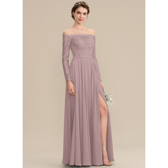 A-Line Off-the-Shoulder Floor-Length Chiffon Lace Bridesmaid Dress With Split Front (007176744)