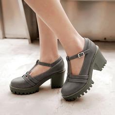 Женщины кожа Устойчивый каблук Mary Jane с пряжка обувь
