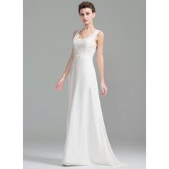 Vestidos princesa/ Formato A Decote V Sweep/Brush trem Tecido de seda Renda Vestido de noiva com Pregueado Beading lantejoulas Curvado