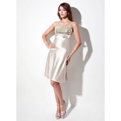 Empire Knee-Length Charmeuse Sequined Homecoming Dress With Bow(s)