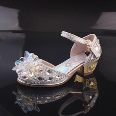 Mädchens Geschlossene Zehe Leder niedrige Ferse Absatzschuhe Blumenmädchen Schuhe mit Perlstickerei Schnalle Strass