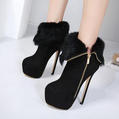 Frauen Veloursleder Stöckel Absatz Absatzschuhe Plateauschuh Stiefelette mit Reißverschluss Schuhe