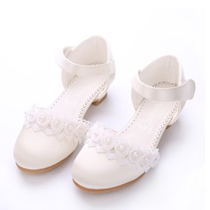 Flicka Stängt Toe Silk som Satin låg klack Pumps Flower Girl Shoes med Kardborre Blomma