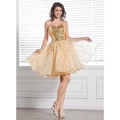 Forme Princesse Bustier en coeur Longueur genou Organza Pailleté Robe de soirée étudiante