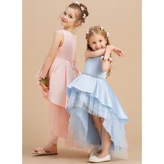 Robe Marquise/Princesse Asymétrique Robes à Fleurs pour Filles - Satiné/Tulle Sans manches Col rond avec Strass