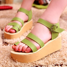 Women's Leatherette Flat Heel Sandals Flats Wedges Peep Toe With Buckle shoes