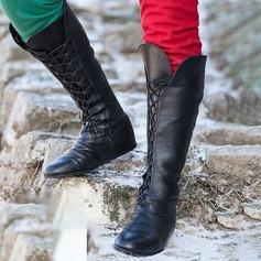 Kvinder Kunstlæder Flad Hæl Fladsko Støvler med Blondér sko