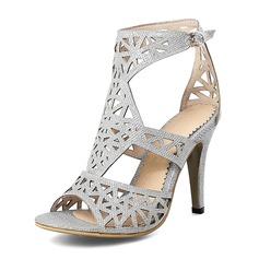 Женщины кожа Высокий тонкий каблук На каблуках Открытый мыс с В дырочку обувь