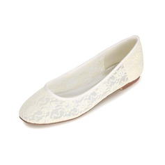 Women's Lace Low Heel Closed Toe Flats (047093833)