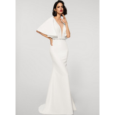 Trumpet/Mermaid V-neck Sweep Train Stretch Crepe Evening Dress With Beading (017219188)