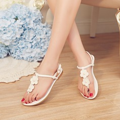 Femmes Vrai cuir Talon plat Sandales Beach Wedding Shoes avec Perle d'imitation Strass
