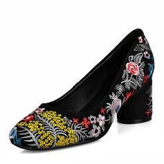 Frauen Echtleder Stämmiger Absatz Absatzschuhe mit Blume Schuhe