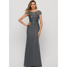 Sheath/Column Scoop Neck Floor-Length Chiffon Evening Dress With Sequins (017209161)