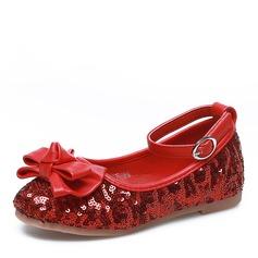 Mädchens Geschlossene Zehe Stoff Flache Ferse Flache Schuhe Blumenmädchen Schuhe mit Bowknot Pailletten Klettverschluss