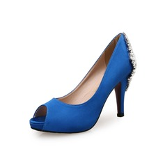 Frauen Wildleder Seide Kegel Absatz Plateauschuh Peep Toe mit Strass Schuhe