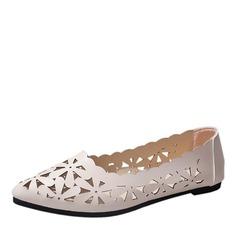 Женщины кожа Плоский каблук Сандалии На плокой подошве с В дырочку обувь