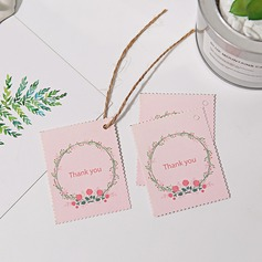 """Thank You"" Pearl Paper Favor Tags & Stickers With Rustic Twine (Set of 100)"