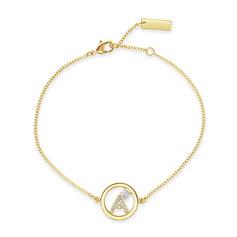 personnalisé Dames Argent 925/Zircon cubique avec Tour Zircon cubique Bracelets Initiaux Bracelets Pour Elle