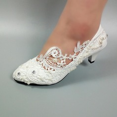 Women's Leatherette Kitten Heel Closed Toe With Stitching Lace