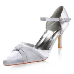 Women's Satin Stiletto Heel Closed Toe With Buckle Rhinestone