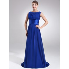 A-Line/Princess Scoop Neck Sweep Train Chiffon Evening Dress With Ruffle