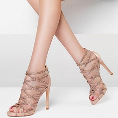 Women's Mesh Stiletto Heel Peep Toe Sandals Beach Wedding Shoes With Sparkling Glitter Hollow-out Braided Strap