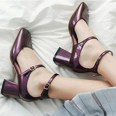 Naisten Aitoa nahkaa Chunky heel Avokkaat Suljettu toe Mary Jane kengät