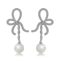 Des Bowknot Perle/Kupfer/Zirkon/Platin überzogen Damen Ohrringe