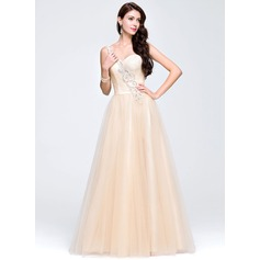 Vestidos princesa/ Formato A Um ombro Longos Tule Vestido de baile com Beading lantejoulas
