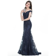 Trumpet/Mermaid Off-the-Shoulder Sweep Train Tulle Lace Evening Dress With Sequins (017105914)