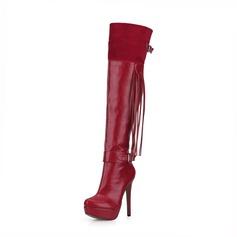 De mujer Ante Cuero Tacón stilettos Salón Plataforma Cerrados Botas Botas sobre la rodilla con Hebilla Borla zapatos