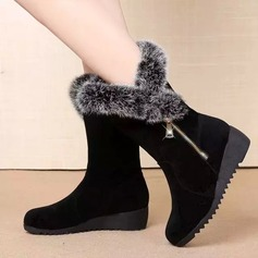 Women's Suede Wedge Heel Boots Mid-Calf Boots With Zipper Fur shoes