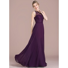 A-Line/Princess Scoop Neck Floor-Length Chiffon Lace Bridesmaid Dress (007105576)