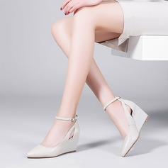Women's Real Leather Wedge Heel Wedges With Buckle Hollow-out shoes