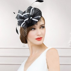 Dames Élégante Coton avec Feather Chapeaux de type fascinator