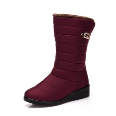 Women's Fabric Flat Heel Flats Boots Mid-Calf Boots Snow Boots shoes