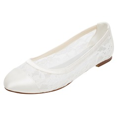 Women's Silk Like Satin Flat Heel Closed Toe Flats (047096504)