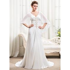 A-linjeformat Hjärtformad Court släp Chiffong Bröllopsklänning med Rufsar Pärlbrodering Paljetter