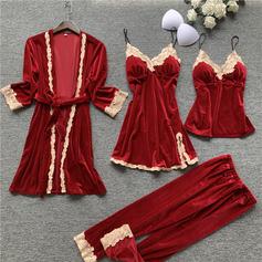 Brud/Feminin Elegant Sammet Sovkläder Sets